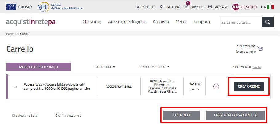 Schermata del sito acquistinretepa.it con riquadrate in rosso le tre modalità per ordinare AccessiWay