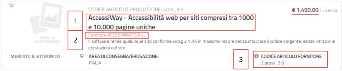 """Schermata del sito acquistinretepa.it con riquadrati in rosso il servizio """"AccessiWay"""", il fornitore ed il codice articolo fornitore"""