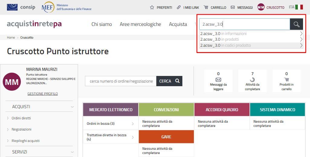 Schermata del sito acquistinretepa.it con barra di ricerca riquadrata in rosso che mostra come ricercare AccessiWay per codice articolo fornitore
