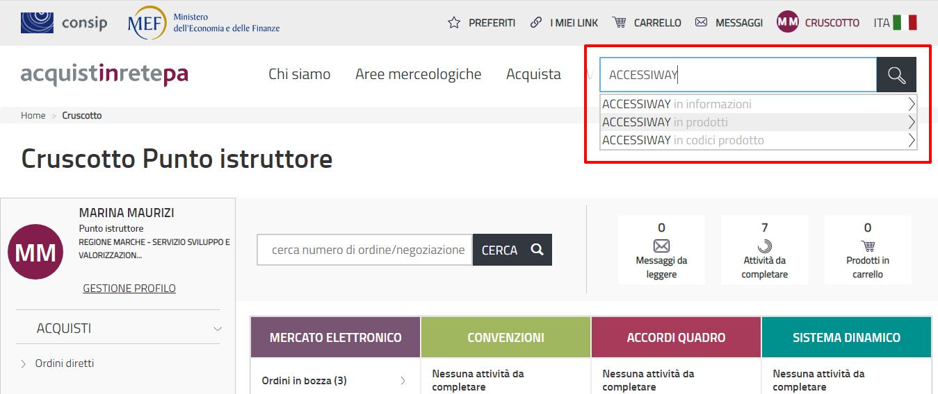 Schermata del sito acquistinretepa.it con barra di ricerca riquadrata in rosso che mostra come ricercare AccessiWay per nome del fornitore
