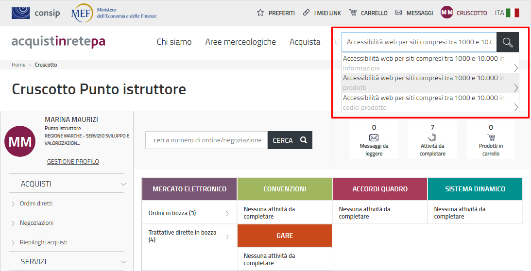 Schermata del sito acquistinretepa.it con barra di ricerca riquadrata in rosso che mostra come ricercare AccessiWay per descrizione del servizio