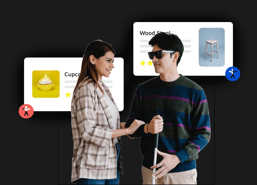 Ragazza sorridente che aiuta un ragazzo non vedente con occhiali neri e bastone in mano con dietro delle pagine web generiche provviste dell'icona di AccessiWay