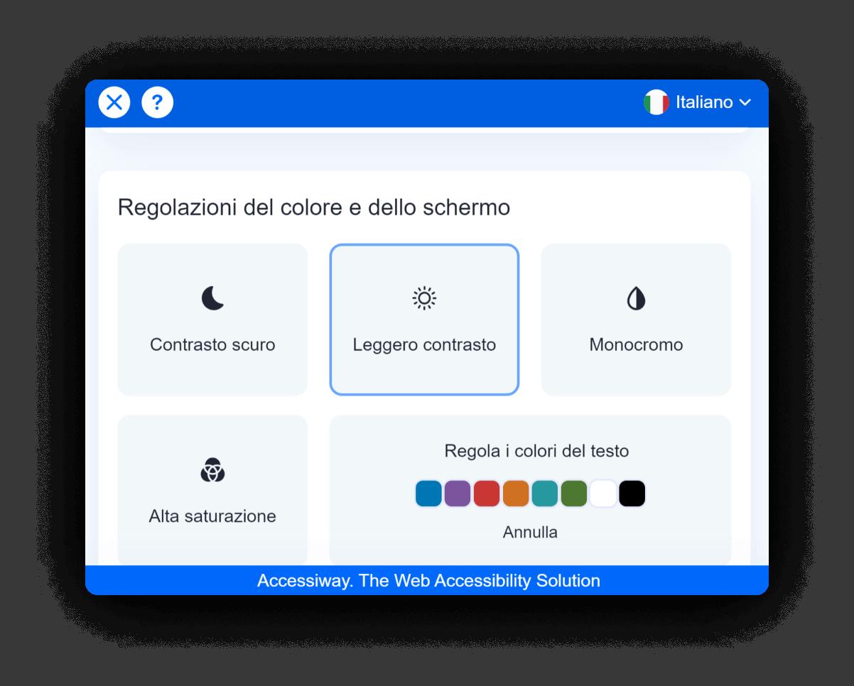 Interfaccia di AccessiWay che mostra le funzionalità di regolazione del colore e dello schermo