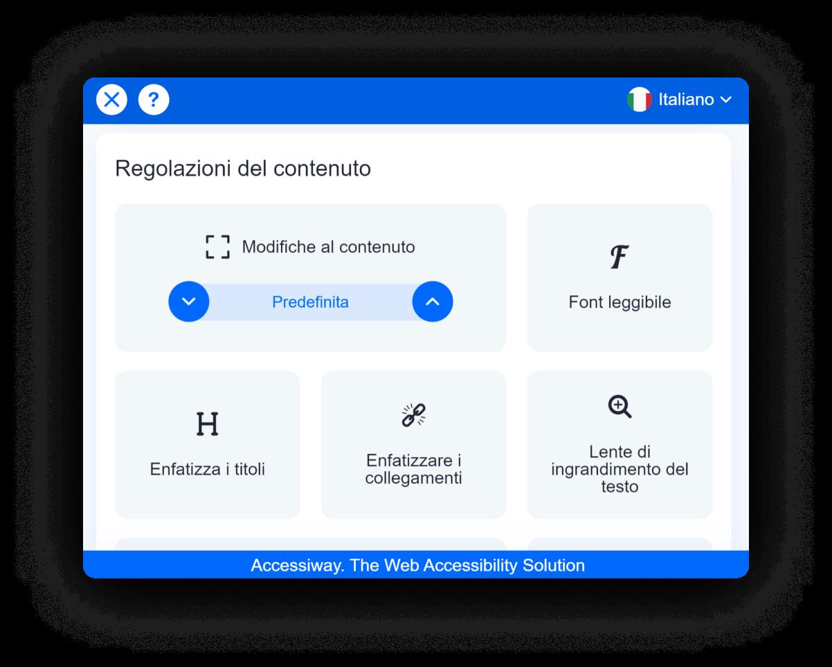 Interfaccia di AccessiWay che mostra le funzionalità di regolazione del contenuto