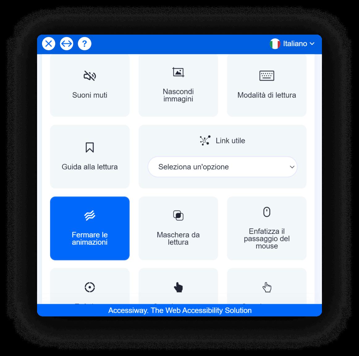"""Interfaccia di AccessiWay con la funzionalità """"Fermare le animazioni"""" selezionata"""