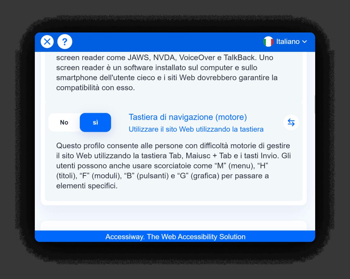 Interfaccia di AccessiWay con la Tastiera di navigazione attiva