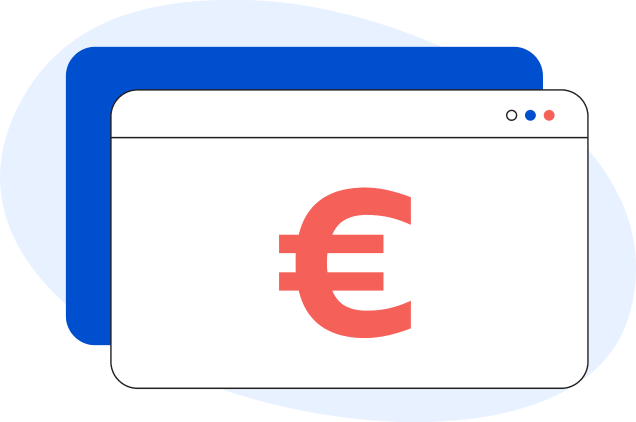 Illustrazione di una pagina web generica con all'interno il simbolo dell'euro