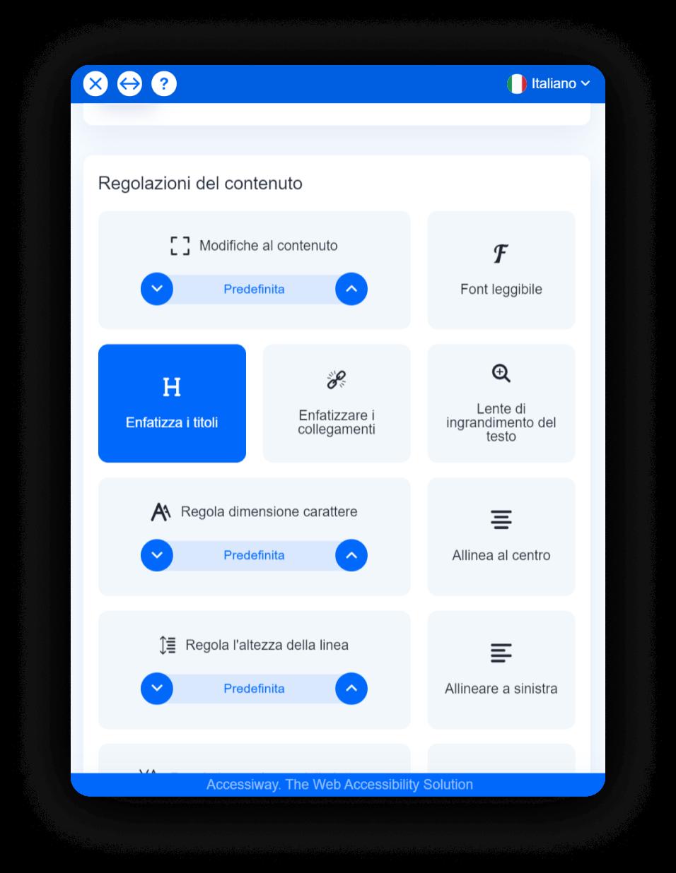"""Interfaccia di AccessiWay con selezionata la funzionalità """"enfatizza i titoli"""""""