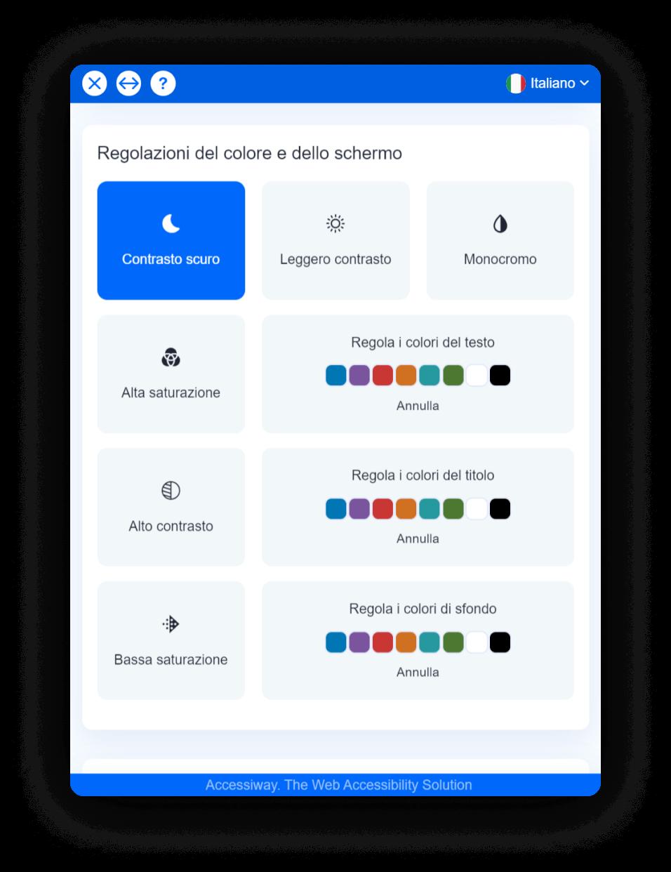 """Interfaccia di AccessiWay con selezionata la funzionalità """"contrasto scuro"""""""