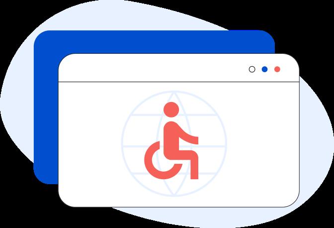 Illustrazione di una pagina web generica con all'interno l'icona di un uomo in sedia a rotelle
