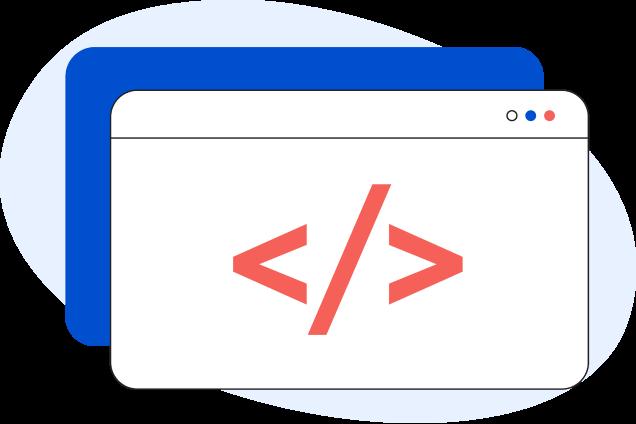 Illustrazione di una pagina web generica con all'interno due parentesi uncinate