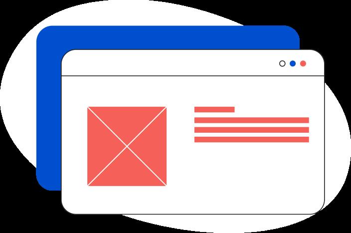 Illustrazione di una pagina web generica con all'interno un documento word