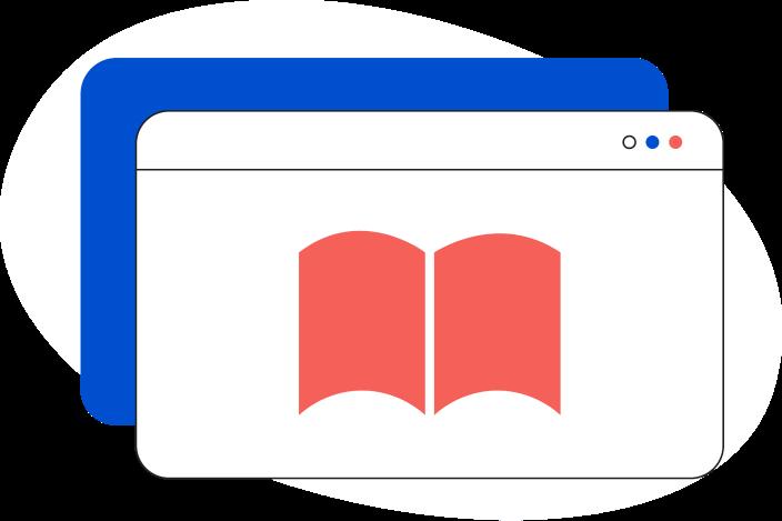Illustrazione di una pagina web generica con all'interno un libro aperto