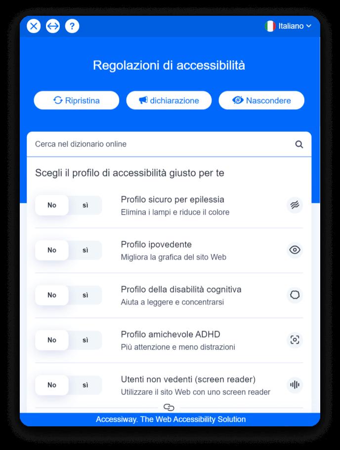 Interfaccia di AccessiWay con i diversi profili di accessibilità