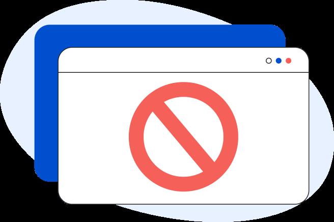 Illustrazione di una pagina web generica con all'interno il simbolo del divieto
