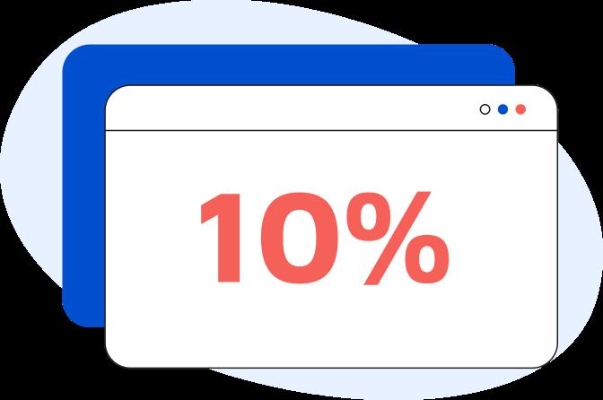 Illustrazione di una pagina web generica con all'interno la scritta 10%