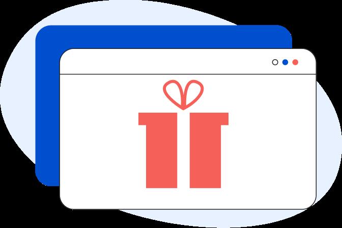 Illustrazione di una pagina web generica con all'interno un pacco regalo