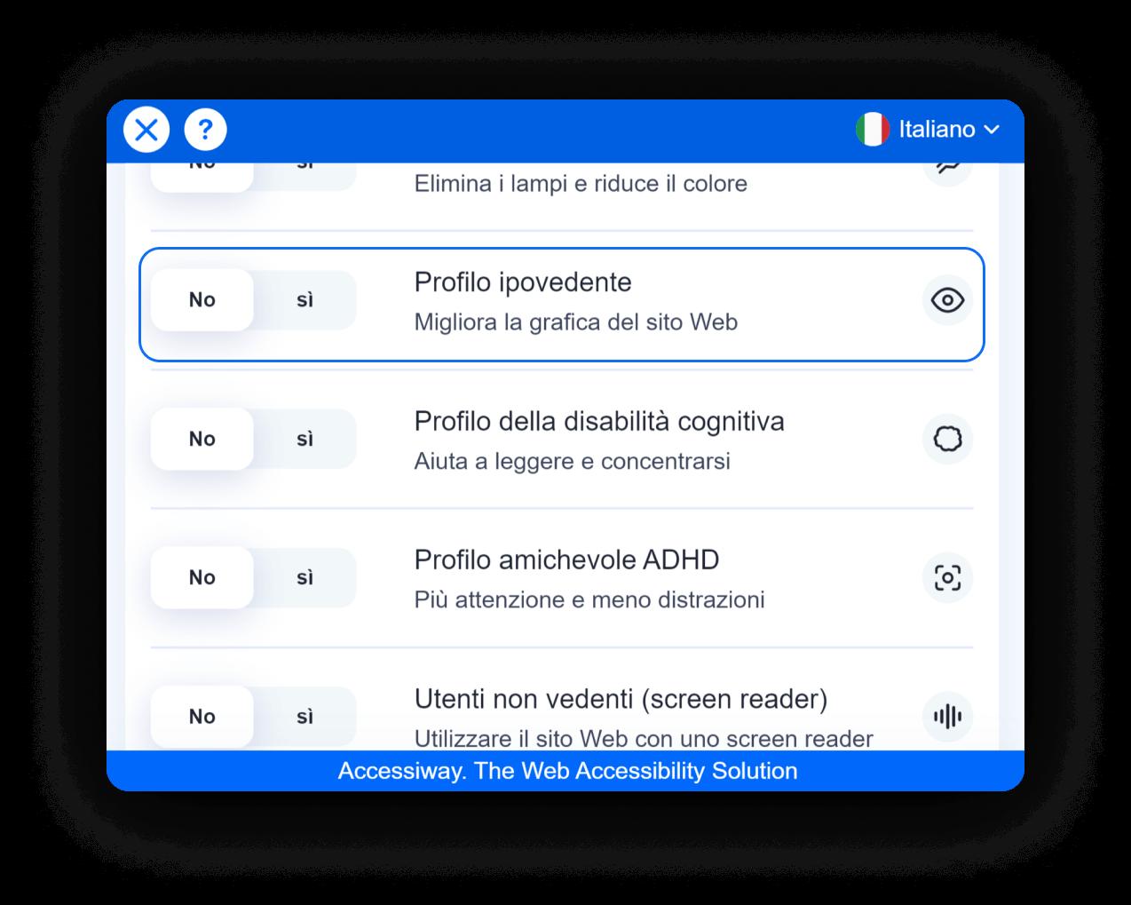 Interfaccia di AccessiWay con selezionato il profilo ipovedente