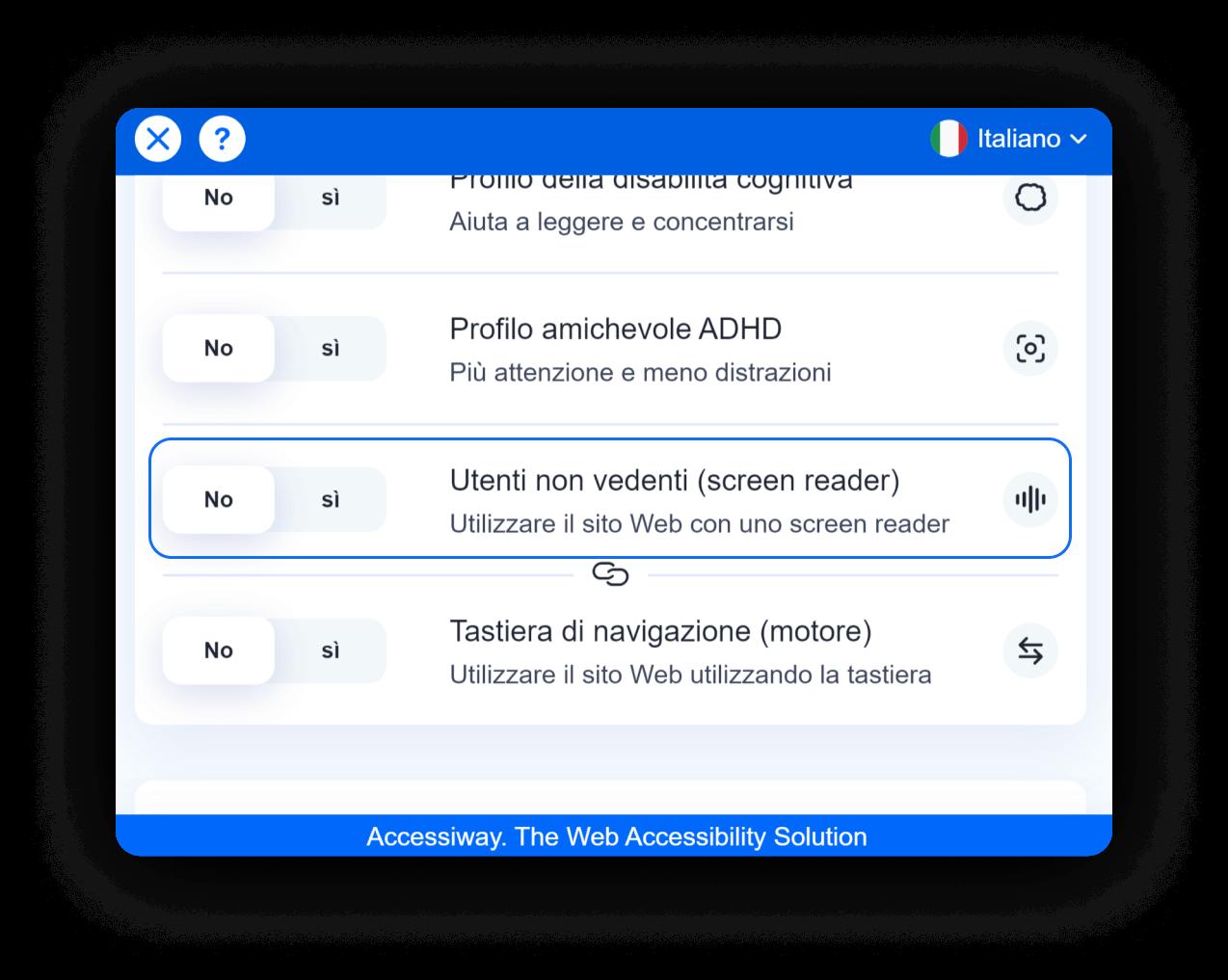 Interfaccia di AccessiWay con selezionato il profilo per Utenti non vedenti