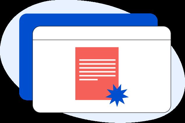 Illustrazione di una pagina web generica con all'interno un certificato