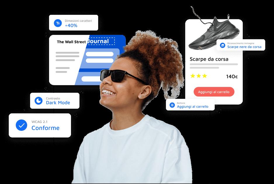 Ragazza cieca sorridente circondata da schede che riassumono le funzionalità e caratteristiche di AccessiWay come la conformità alle WCAG 2.1, regolazione del contrasto e dei caratteri e la lettura delle immagini