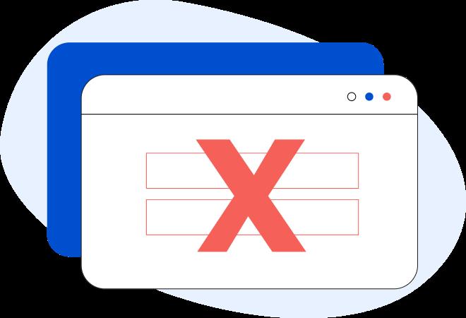 Illustrazione di una pagina web generica con all'interno una x rossa