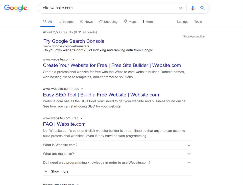 Schermata di ricerca di Google con i risultati di site:website.com che indica il numero di pagine trovate