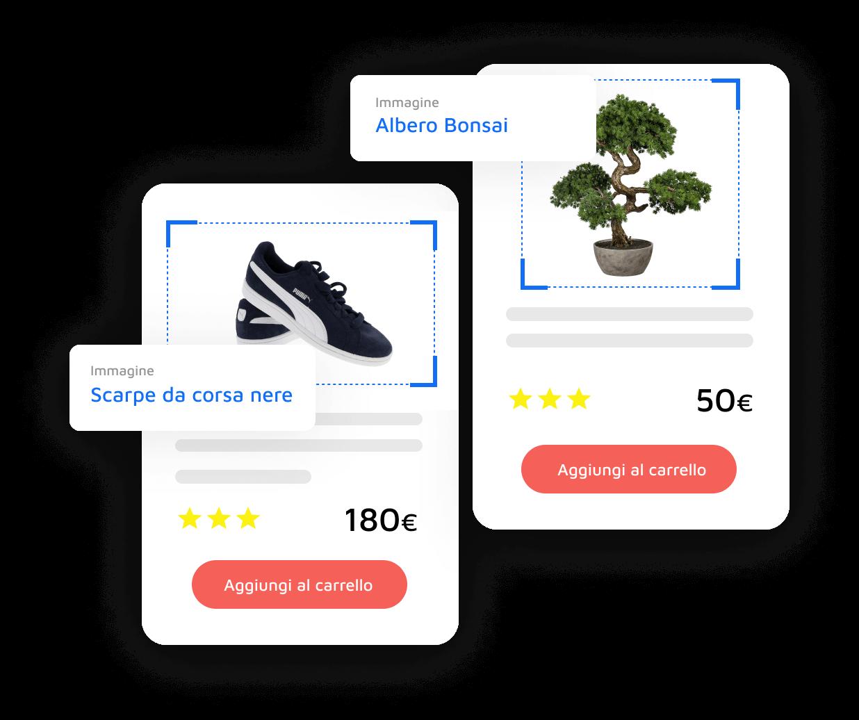 Illustrazione di AccessWay che riconosce l'immagine di un Bonsai ed un paio di scarpe nere