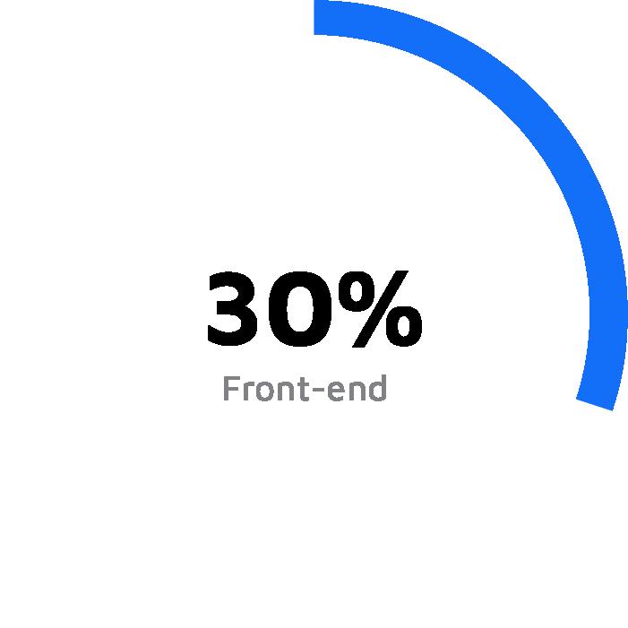 Grafico a torta bianco con una porzione azzurra del 30%