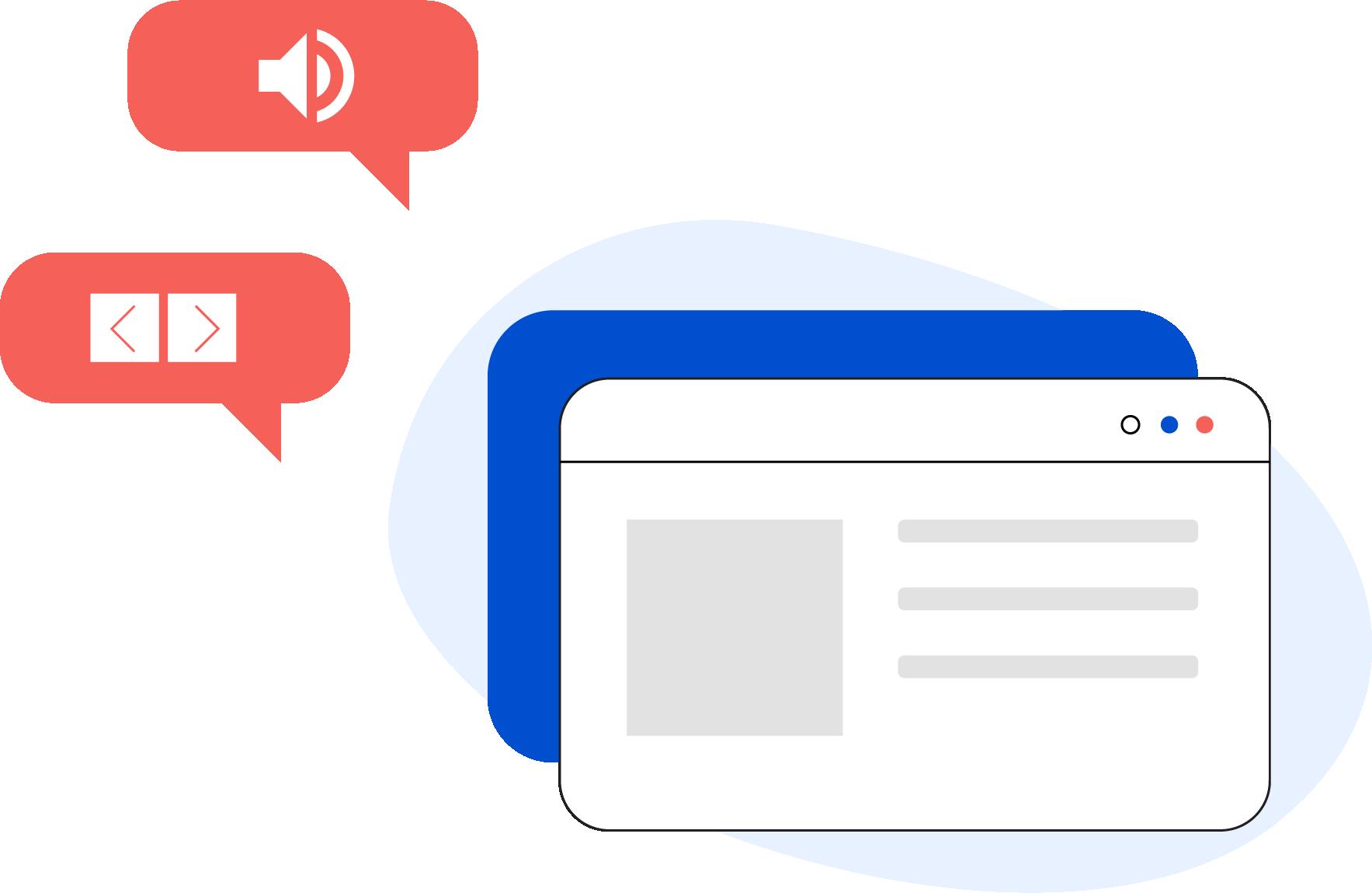 Illustrazione di una pagina web generica con all'esterno due fumetti contenenti l'icona del volume e delle due frecce di navigazione
