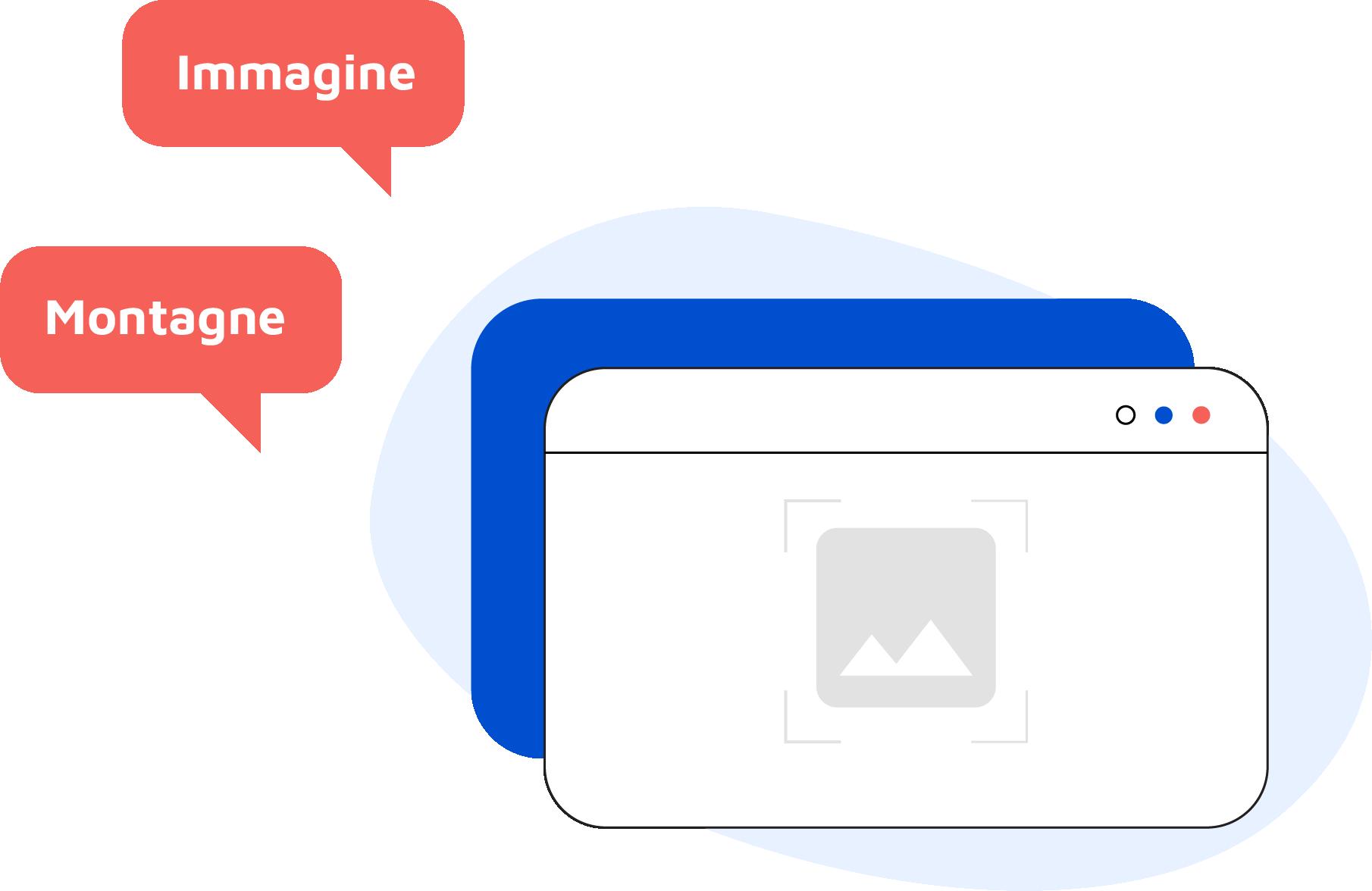 Illustrazione di una pagina web con all'interno un'immagine di due montagne e all'esterno due fumetti con le scritte Immagine e Montagne