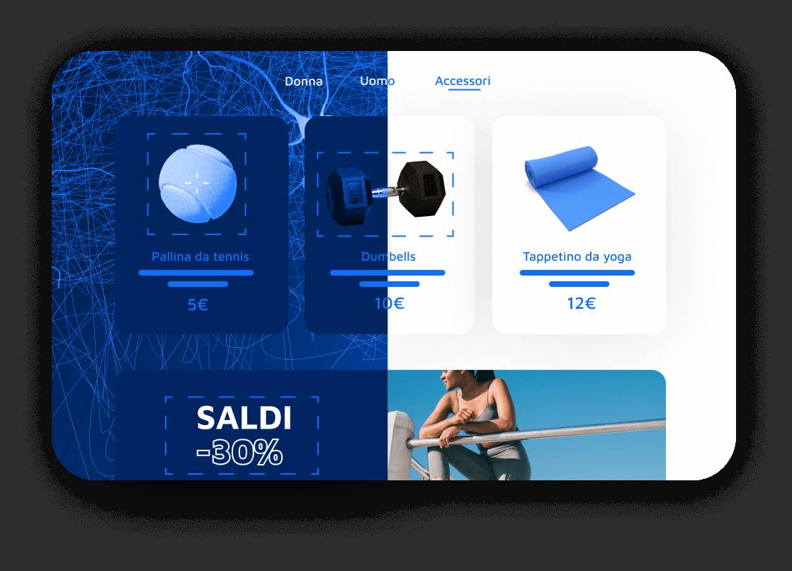 Illustrazione che mostra come l'intelligenza artificiale scansiona gli elementi di una pagina web di un negozio online di attrezzatura sportiva