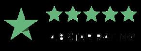 """Valutazione di cinque stelle accompagnate dalla scritta """"4.8 star rating"""""""