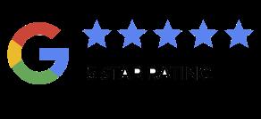 """Logo di Google con cinque stelle azzurre accompagnate dalla scritta """"5 star rating"""""""