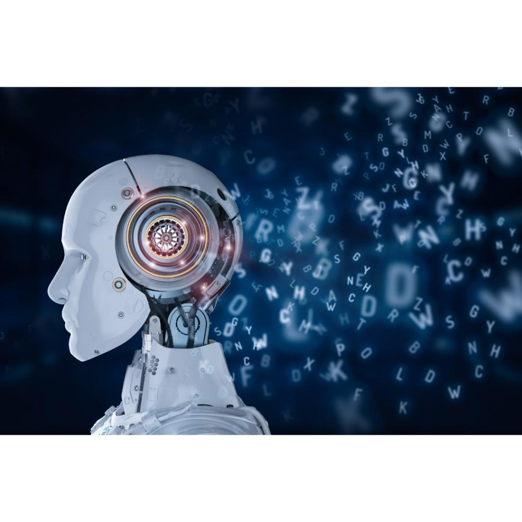 Immagine che raffigura un robot androide con delle lettere dell'alfabeto che escono dalla sua testa