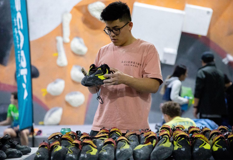 Breaking in rock climbing shoes…