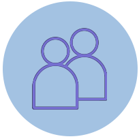 Purple two people icon
