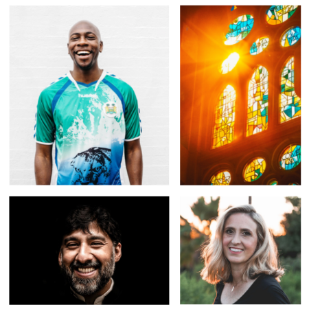 4 images of 3 happy pastors and 1 stain glass with sun glare
