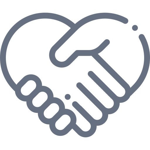 Two hands coming together in respect icon