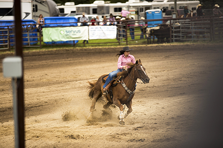 A woman in a pink shirt riding a horse in barrel races at a rodeo