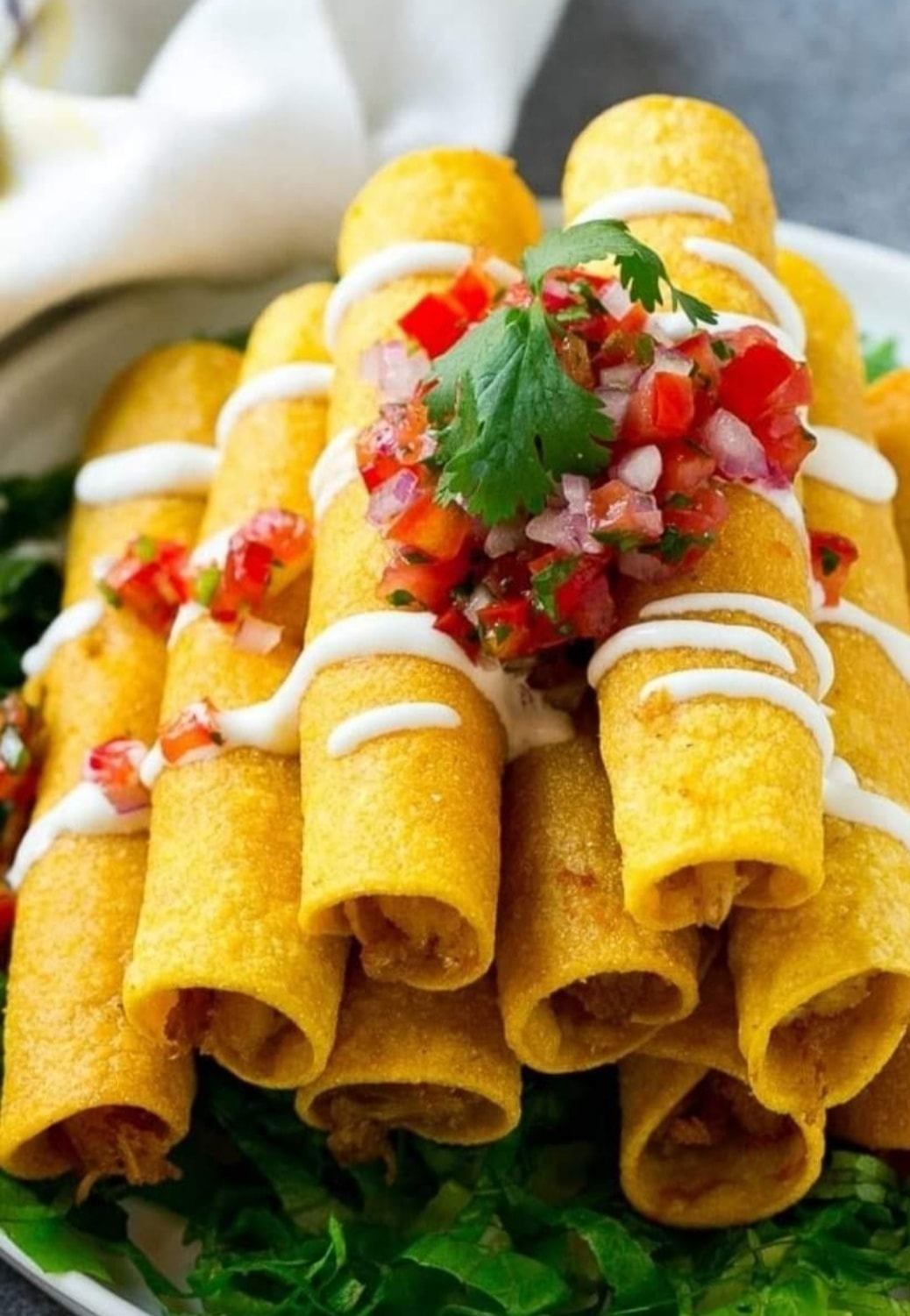 A tasty stack of chimichangas.
