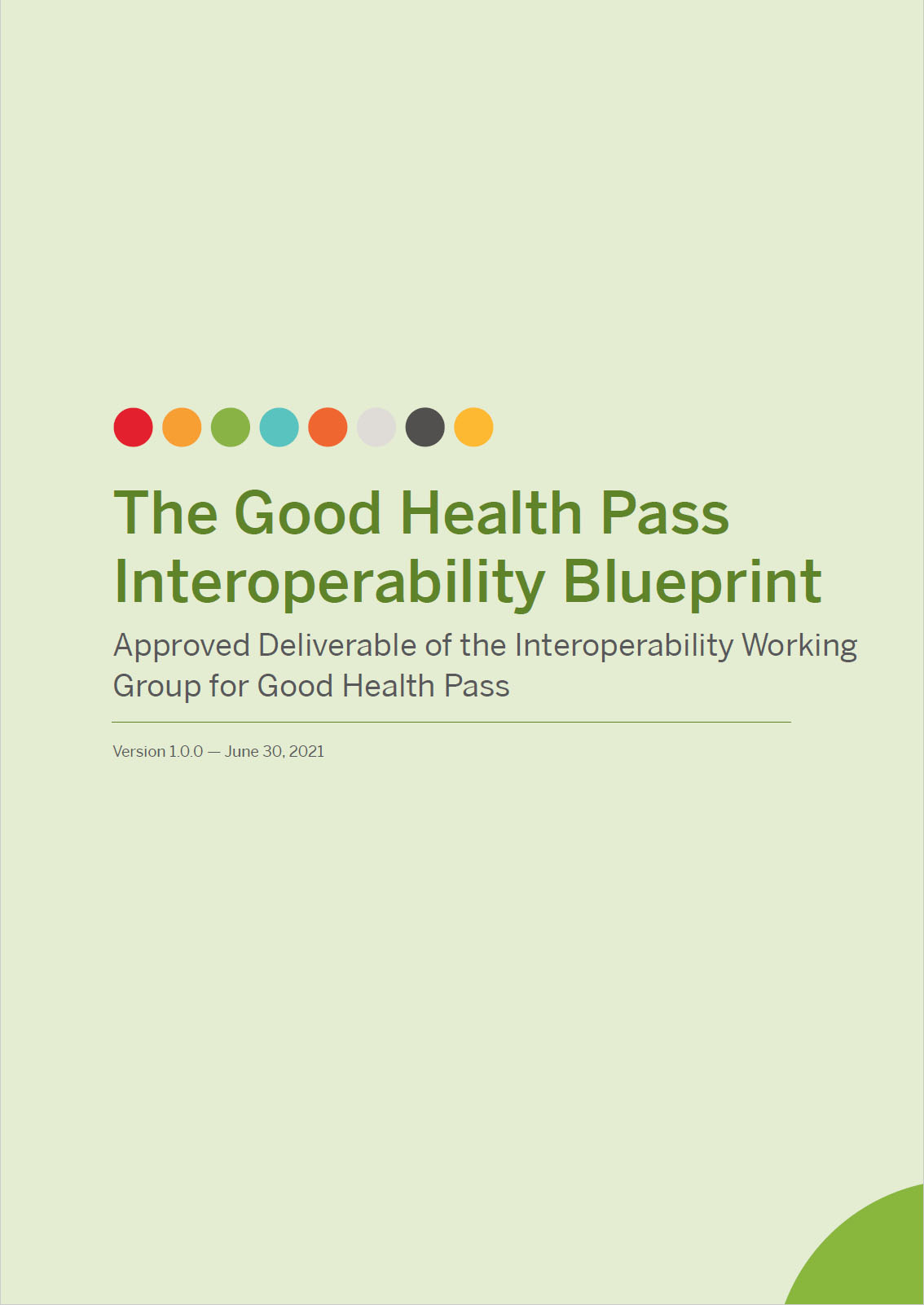 Cover of the Good Health Pass Collaborative's Interoperability Blueprint.