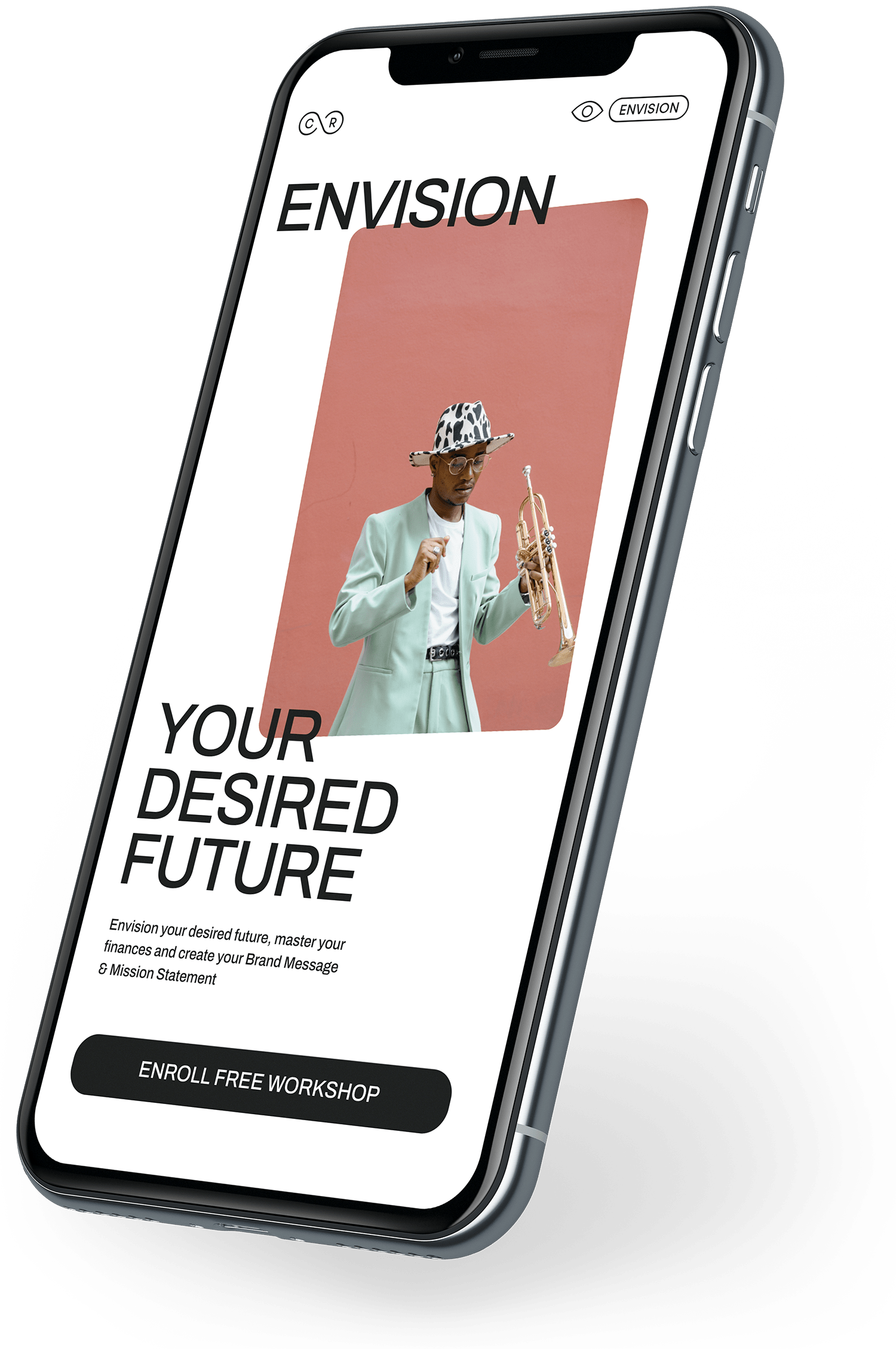 floating phone mockup with a preview of the cre8tive platform