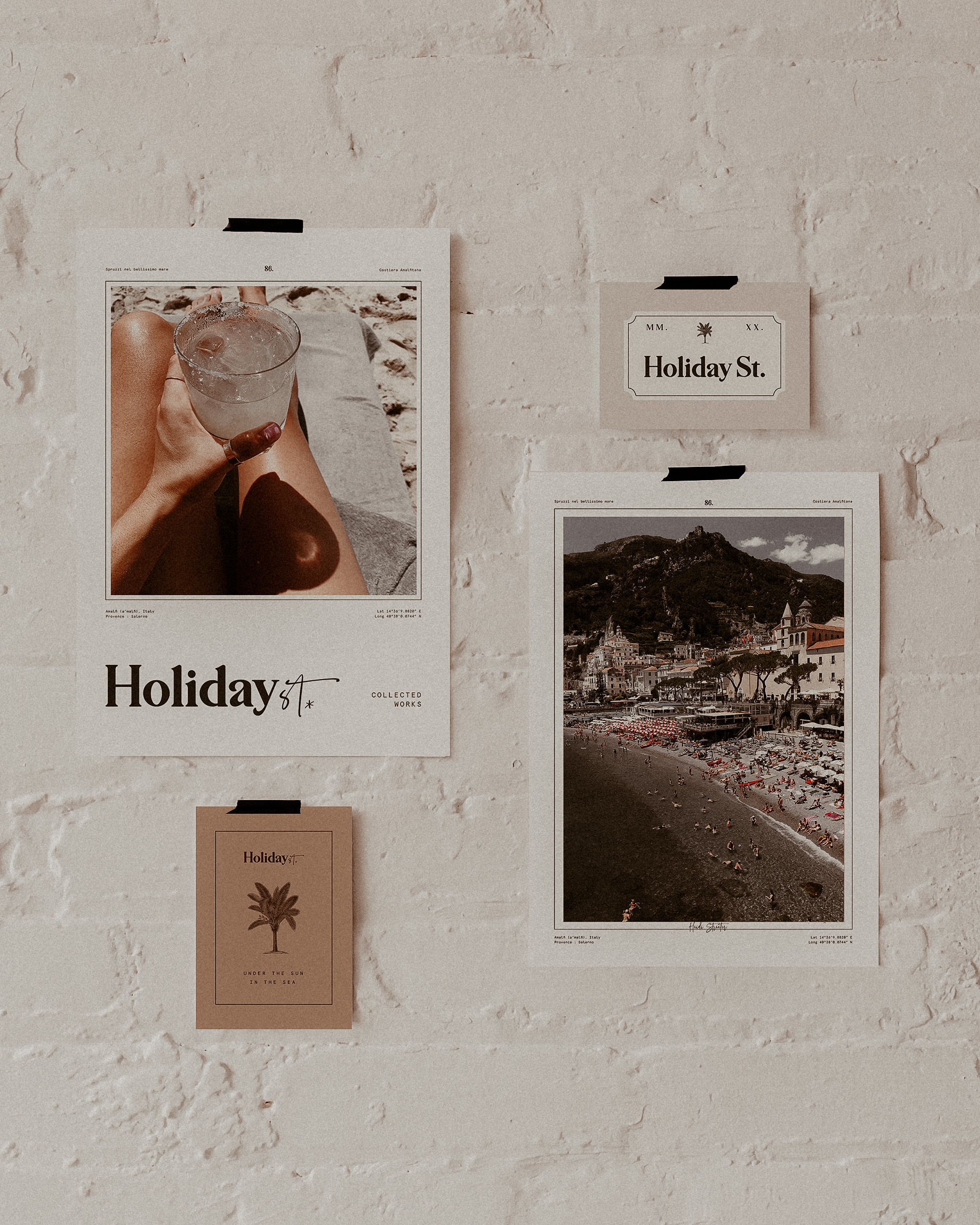 variety of holiday photos taped to a wall