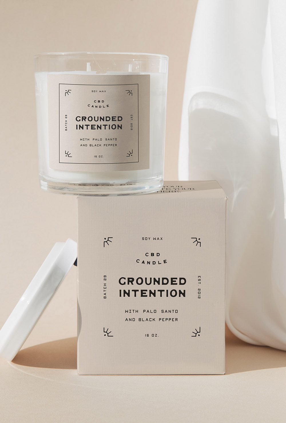 Product photography of a CBD candle