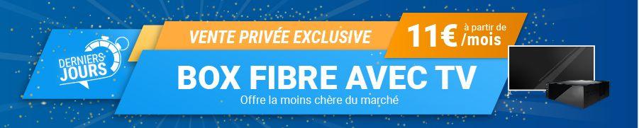 Image Vente Privée ZoneADSL : box fibre + TV à partir de 11€. L'offre la moins chère du marché actuellement