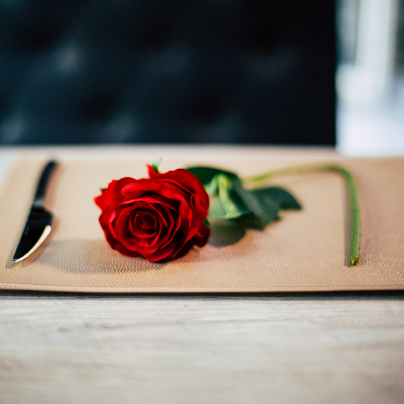 a red rose with a knife