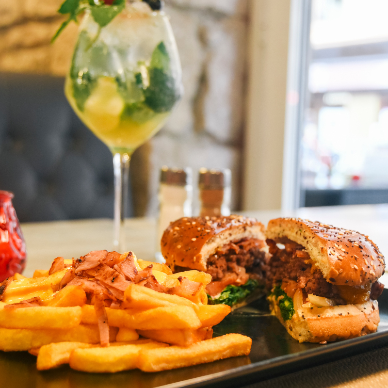hamburger, french fries and cocktail