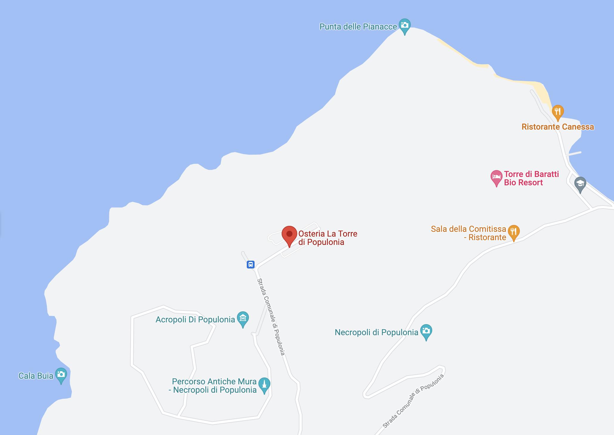 Posizione geografica e mappa dell'Osteria Torre di Populonia, ristorante di pesce a km zero in Toscana