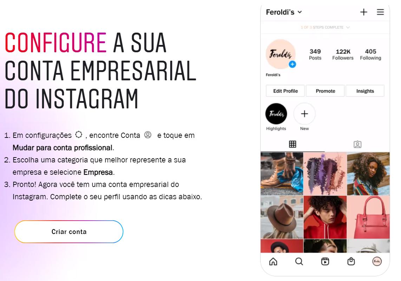 Orientações do Instagram para configurar conta empresarial